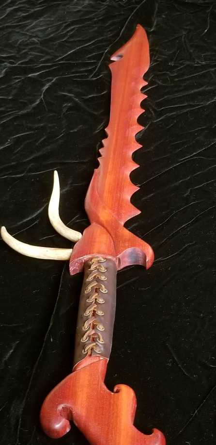 Bloodwood and antler sword